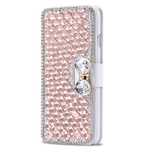 Karomenic kompatibel mit Samsung Galaxy S4 PU Leder Hülle 3D Glitzer Diamant Handyhülle Brieftasche Durchsichtig Schutzhülle Klapphülle Magnet Ledertasche Bumper Wallet Flip Case Etui,Rose gold
