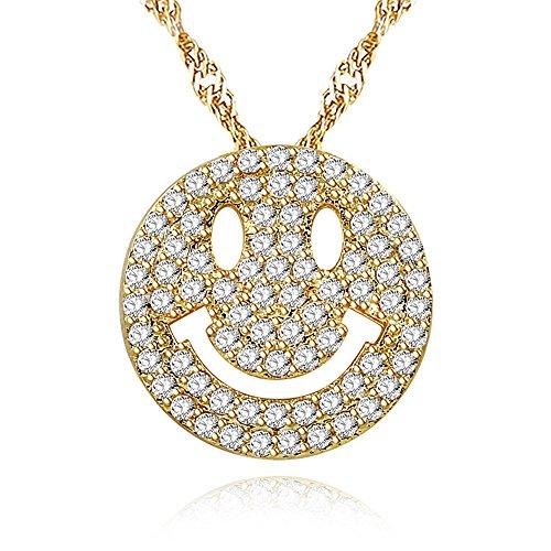 Uloveido Mädchen Gelb Vergoldet Runde Zirkonia Cluster Nettes Lächeln Gesicht Emoji Anhänger BFF Schwester Beste Freundin Halskette Y322-Gold