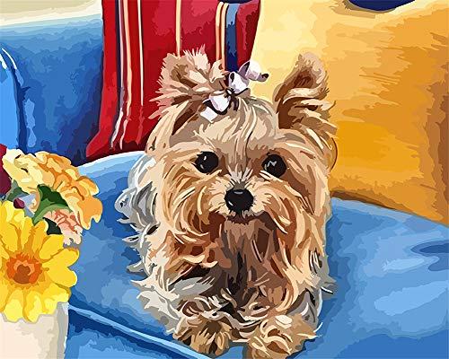 Kit HD de pintura al óleo de 3 dimensiones por números, kit de tema PBN para niños y adultos, decoración de cumpleaños y Navidad, regalo de perro (N4, madera)