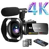 Camescope Caméscope vidéo 4K 30,0MP18X Zoom numérique Caméscope Vlogging Ultra HD avec Microphone Écran Tactile LCD 3'Fonction Webcam Caméscope Youtube avec Pare-Soleil