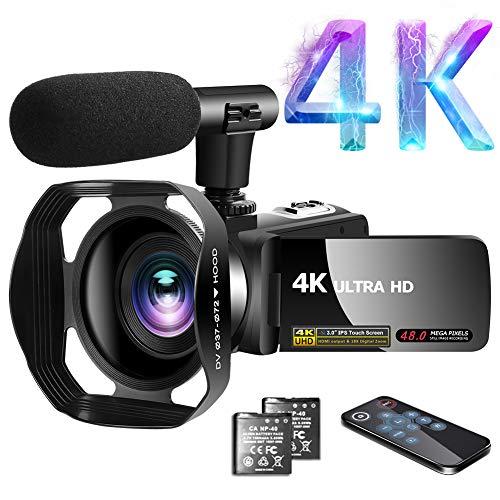 "Videokamera 4K Video Camcorder 30.0MP18X Digital Zoom Ultra HD Vlogging Camcorder mit Mikrofon 3\""LCD Touchscreen Webcam Funktion YouTube Videokamera mit Gegenlichtblende"