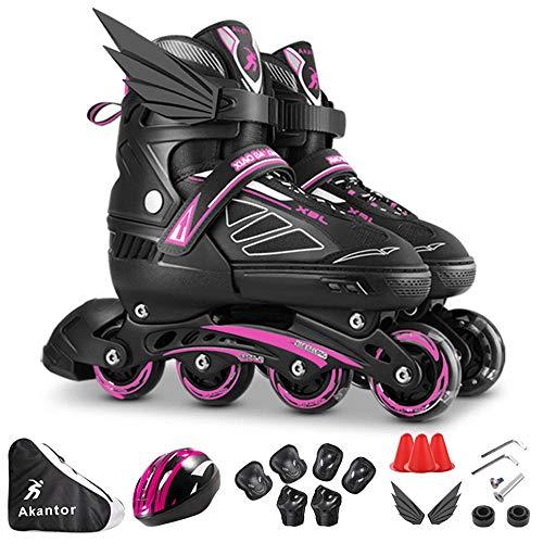 Kinder Inline Skates Herren Damen Einstellbarer Größe Rollschuhe Mit Leucht PU Räder Dreifach Schutz Leichte Anfänger Rollerskates Einstellbare für Mädchen Jungen-L(39-42) Pink