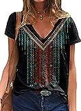 Chvity Women Summer Casual V Neck Short Sleeve T Shirt Western Aztec Ethnic Diamond Print Tops (Large, Black)