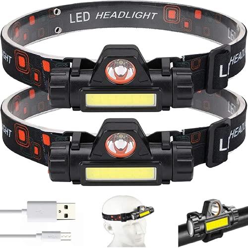 Ayxnzjsjm Lámpara de cabeza 2 faros delanteros recargables USB con protección IPX4 resistente al agua, para correr, camping, pesca