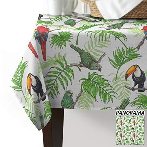 Fantasy Staring Rectangular Polyester Tablecloth Parrot and Tropical Tree Table Cover for Buffet, Parties, BBQ, Wedding & Catering Events Tabletop Decoration (60' x 90')