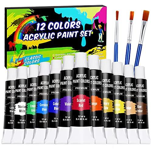 Set di Colori Acrilici, WOSTOO 12x12 ml Acrilici Set Pittura con 3 Pennelli Alta Qualità Non Tossico Pittura Acrilica per Pittura su Muro, Tessuto, Pietre DIY, per Artisti, Principianti o Bambini