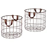 Amazon Brand – Stone & Beam Modern Round Metal Wire Storage Basket with Faux Leather Handles - Pack of 2, Brown