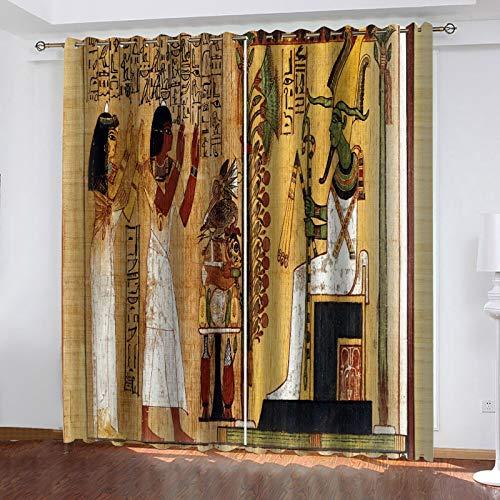 WLHRJ Cortina Opaca en Cocina el Salon dormitorios habitación Infantil 3D Impresión Digital Ojales Cortinas termica - 264x160 cm - Personajes del Antiguo Egipto