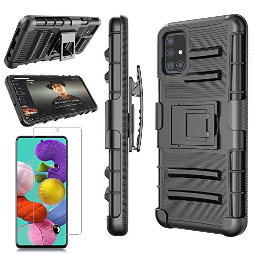 Tiflook for Samsung Galaxy A71 5G Case with Tempered Glass Screen Protector, Heavy Duty Military Grade Belt Clip Holster Shockproof Armor Rugged Hard Full Body Protective Case Cover w/Kickstand,Black