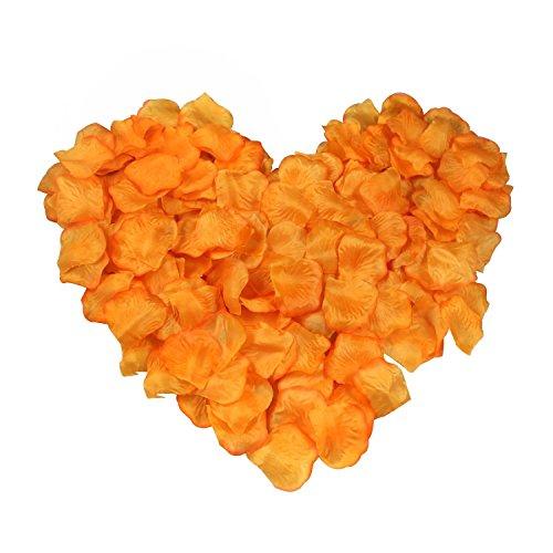 EMAXELER [Broken Girls Flowers]1000pcs Orange Silk Rose Flower Petals for Wedding Table Confetti Bridal Party Flower Girl Decoration 1000pcs Orange