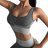 AKSE Sexy Yoga Sports BH, schöne Rücken Sportkleidung Weibliche, High-Intensität Stoßdichte sampfer läuft atmungsaktive schnell trocknende Fitness Yoga Weste BH grey-M