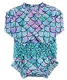 Baby Girls One-Piece Swimsuit UPF 50+ Sun Protection Rash Guard Shirts Long Sleeve Bathing Suit Mermaid Swimwear with Zipper 3-6 Months