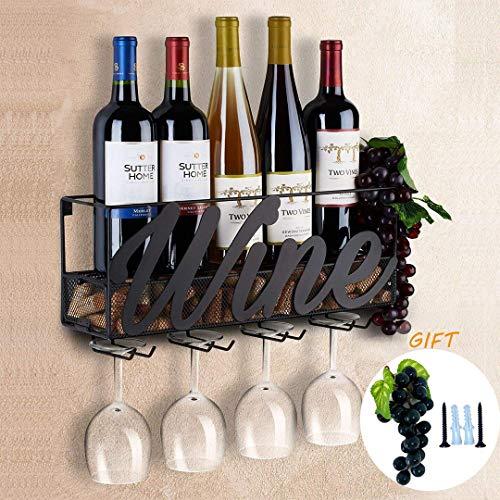 Tinyuet Wine Rack , Wall Mounted Wine Racks , Bottle and Glass Holder , Red Wine Storage Racks , Champagne Drink Storage Racks - Wine