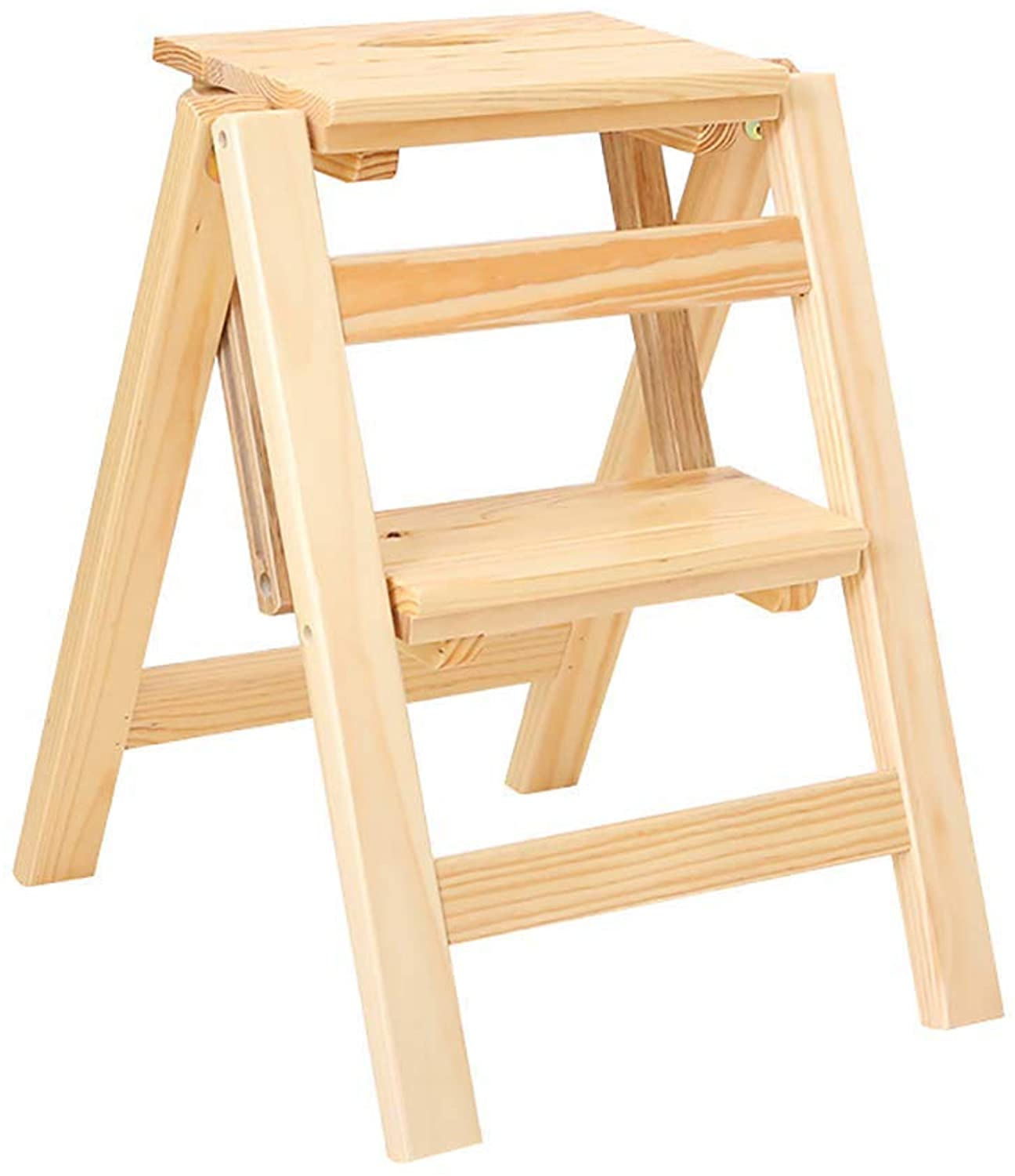 Solid Wood Step Stool Household Folding Ladder Two Steps Multifunction Bench Chair Dual Purpose Indoor (color   D)