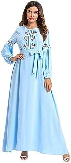 Islamic Embroidery Muslim Women Long Sleeve Maxi Dress Abaya Party Cocktail Loose Robe Dubai Casual Dress Ankle-Length O-neck