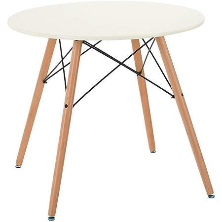 MEUBLE COSY Table salle à manger table ronde de salon, Blanc /80x80x71cm