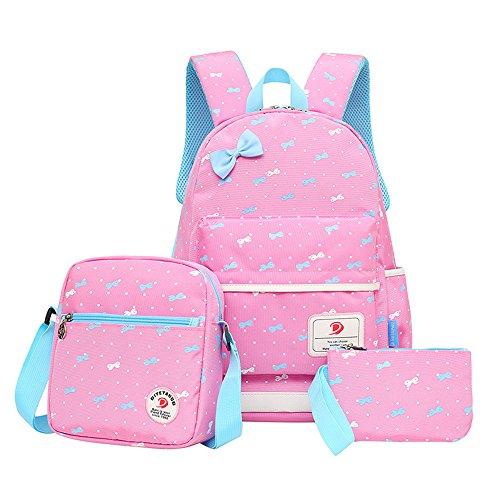 MCUILEE Juego de 3 bolsas escolares Bowknot Lunares Conjunto de 3 Lindo Kids Book Bag Girls Teen School Mochila con bolsa cruzada y bolsa para lápices