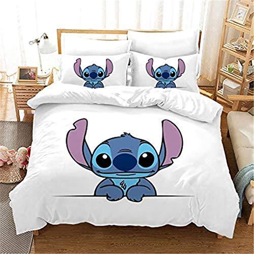 Goplnma -Lilo Stitch Ropa de cama infantil, dibujos animados Stitch, funda nórdica con funda de almohada, impresión 3D, multicolor (135 × 200 cm, 14)