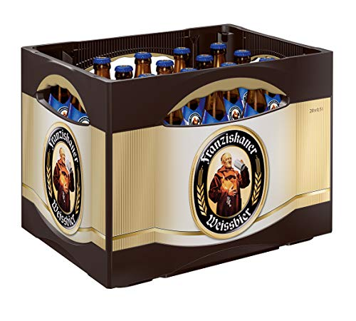 Franziskaner Weissbier Alkoholfrei Flaschenbier, MEHRWEG (20 x 0.5 l) im Kasten, Alkoholfreies Hefe-Weissbier / Hefe-Weizen Bier aus München