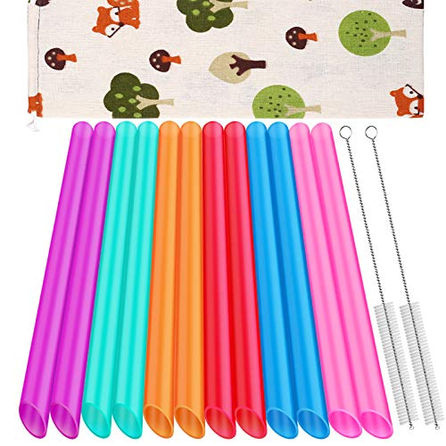 [Angled Tips] 12 Pcs Reusable Boba Straws and Smoothie Straws with 1 Storage Bag and 2 Brushes, BPA Free Food Grade