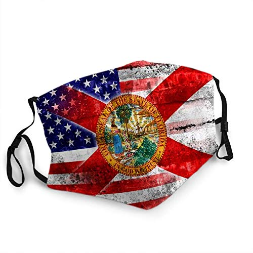 Reusable Face Shield Mouth Mask USA and Florida State Flag Painted On Grunge Wall
