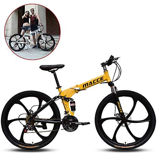 Vélo Pliant,Vélo VTT Pliable, 26 Pouces, 21 Vitesse Variable, Hors-Route, Absorption des Chocs pour Homme, vélo en Plein air, équitation, Adulte/Jaune