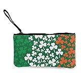 Monedero de Lona para Mujer, Bandera de trébol irlandés, Lienzo Unisex, Estampado en 3D, Monedero, Monedero, Carteras para Hombres y Mujeres