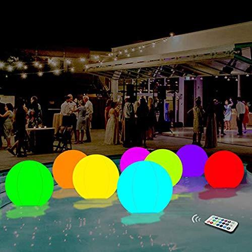 Queta LED Leuchtkugel,Aufblasbare PVC-Fernbedienung LED-Ball,13 Farben Wasserdicht Kugellampe,Vier wechselnde Modi,Dimmbar Dekorativer Strandball für Außenpool/Garten/Haus, innen & außen