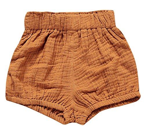 LOOLY Unisex Baby Girls Boys Cotton Linen Blend Bloomer Shorts ,66,Dark Yellow