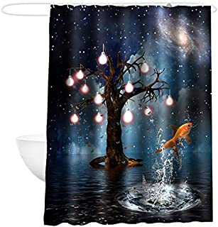 Caeser Archy Shower Curtain Water Proof Polyester Fabric Shower Curtain Liner for Bathroom 72 x 72 Inches with Shower Curtain Hooks Blue'