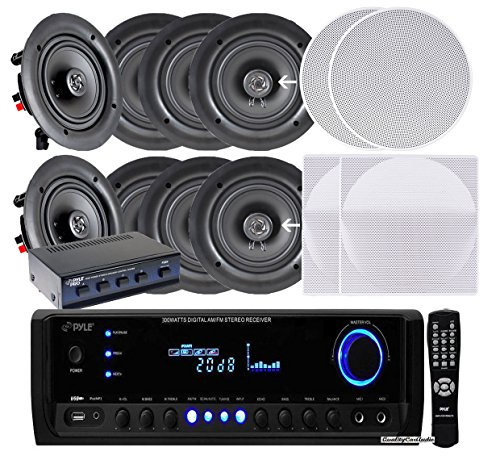 """Pyle KTHSP390S 4 Pairs of 150W 5.25"""" In-Wall / In-Ceiling Stereo White Speakers w/ 300W Digital Home Stereo Receiver w/ USB/SD/AUX Input, Remote w/ 4 Channel High Power Stereo Speaker Selector"""