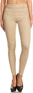 Women's High Waisted Pleated Pull-On Stretchy Skinny Jeggings with Pockets