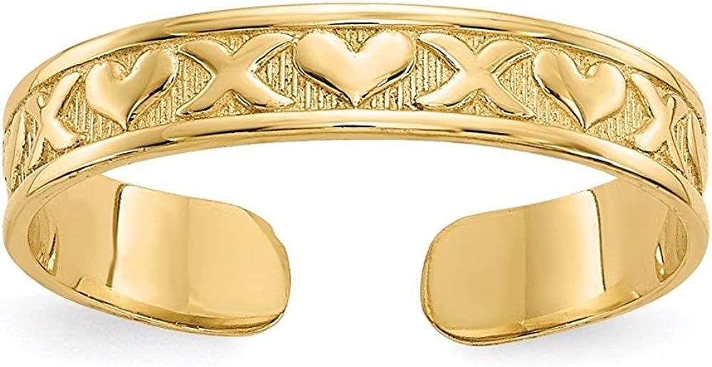 Jewelry-14k X & Hearts Toe Ring