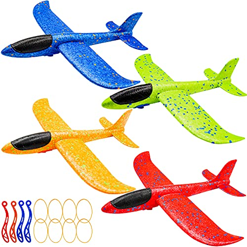 noband 4 Pack Airplane Toys, Throwing Foam Plane with 13.6 inches Wingspan for Outdoor Sports Garden...