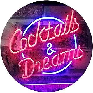 ADVPRO Cocktails & Dreams Bar Beer Wine Drink Pub Club Dual Color LED Neon Sign Blue & Red 16
