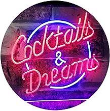 "ADVPRO Cocktails & Dreams Bar Beer Wine Drink Pub Club Dual Color LED Neon Sign Blue & Red 16"" x 12"" st6s43-i2079-br"