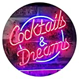 ADV PRO Cocktails & Dreams Bar Beer Wine Drink Pub Club Dual Color LED Barlicht Neonlicht...