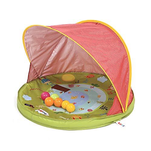 Tente anti-UV Abribaby | Ludi | Protège du vent et du soleil | 6 balles incluses | Abri et pataugeoire | Capote anti-UV 50 | Dès la naissance