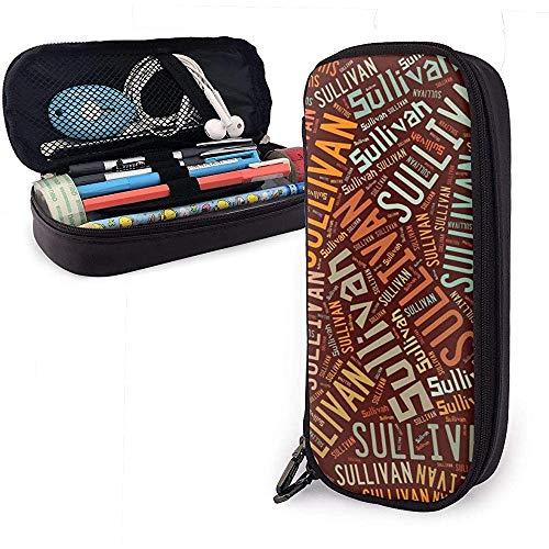 Sullivan - Apellido americano Estuche de cuero de gran capacidad Estuche de lápices Estuche de lápices Papelería Organizador Bolígrafo de oficina Bolso cosmético portátil