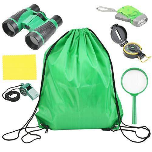 6 Set Abenteuerspiele Spielzeug,Erkundung im Freien, Teleskop, Taschenlampe, Kompass, Lupe, tragbare LED-Taschenlampe, Pfeife für Camping, grünes Spielzeug im Freien, geeignet für Jungen und Kinder