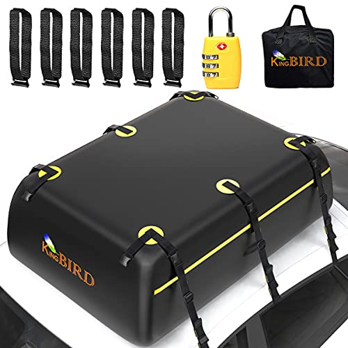 KING BIRD Rooftop Cargo Carrier Bag, 15 Cubic Feet 100% Waterproof Car Top Carrier with Non-Slip...