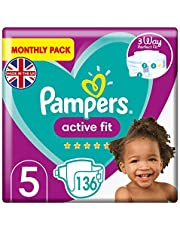 Pampers Size 5 Active Fit Baby Nappies, 136 Count, 360 Degree Comfort Fit (12-17 kg / 26-37 lbs)