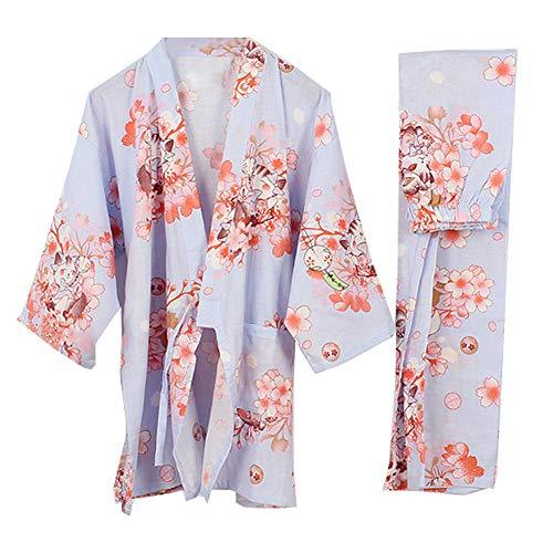 Fancy Pumpkin Abito da Donna Stile Giapponese Kimono Pigiama Suit-Crane A, Taglia L