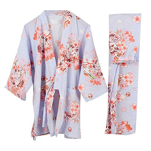 Traje de Estilo japonés para Mujer Kimono Pijamas Traje-Grúa A, Talla L