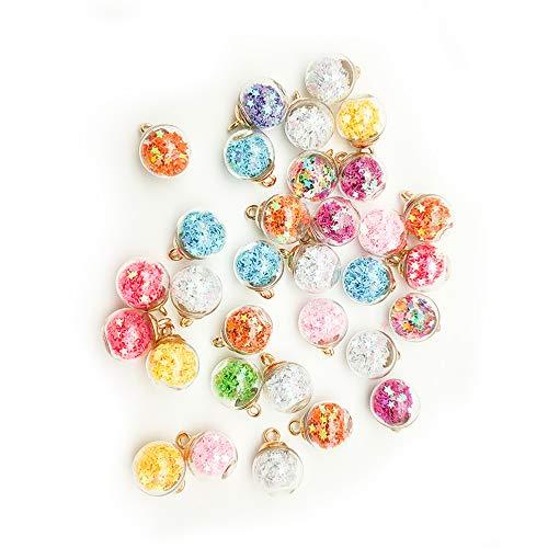 Lecimo 50 * Abalorios de Bolas de Cristal, Colgante de Bola de Cristal Multicolor Brillante con Decoraciones de Estrellas para Bricolaje, Collar, Pulsera, fabricación de Joyas