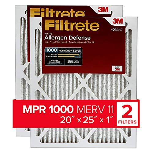 Filtrete 20x25x1, AC Furnace Air Filter, MPR 1000, Micro Allergen Defense, 2-Pack (exact dimensions 19.688 x 24.688 x 0.84)