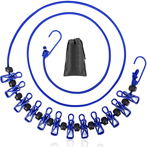 B&Y Travel Clothesline Portable Retractable and Adjustable Camping Clothesline with a Non-Woven Bag 13 Non-Slip Clips 12 Clothes Clips Indoor and Outdoor use Blue
