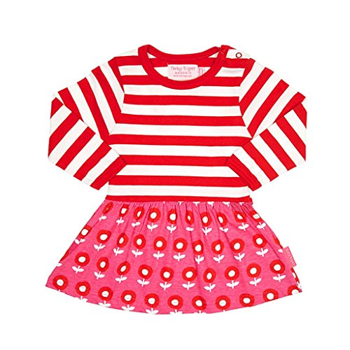 Toby Tiger Long Sleeve Dot Flower Twirl Dress Robe, Rose (Pink/Red/White), 1-2 Ans (Taille Fabricant: 92 cm) Bébé Fille