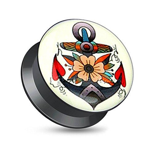 Acryl Plug Tunnel Ohr Piercing Anker Anchor Rockabilly Retro Screw Fit schwarz 14 mm