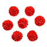 silk flowers in bulk wholesale Fake Flowers Heads Artificial Carnation Flower Head Handmade Home Decoration DIY Event Party Supplies Wreaths 30pcs/lot 4cm (red)
